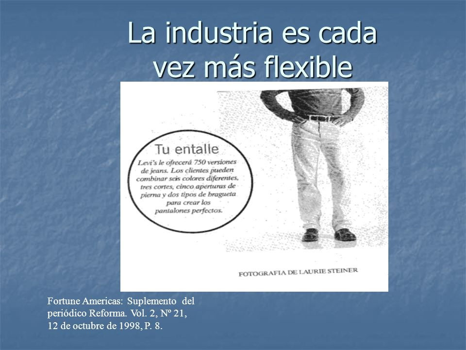 La industria es cada vez más flexible Fortune Americas: Suplemento del periódico Reforma. Vol. 2, Nº 21, 12 de octubre de 1998, P. 8.