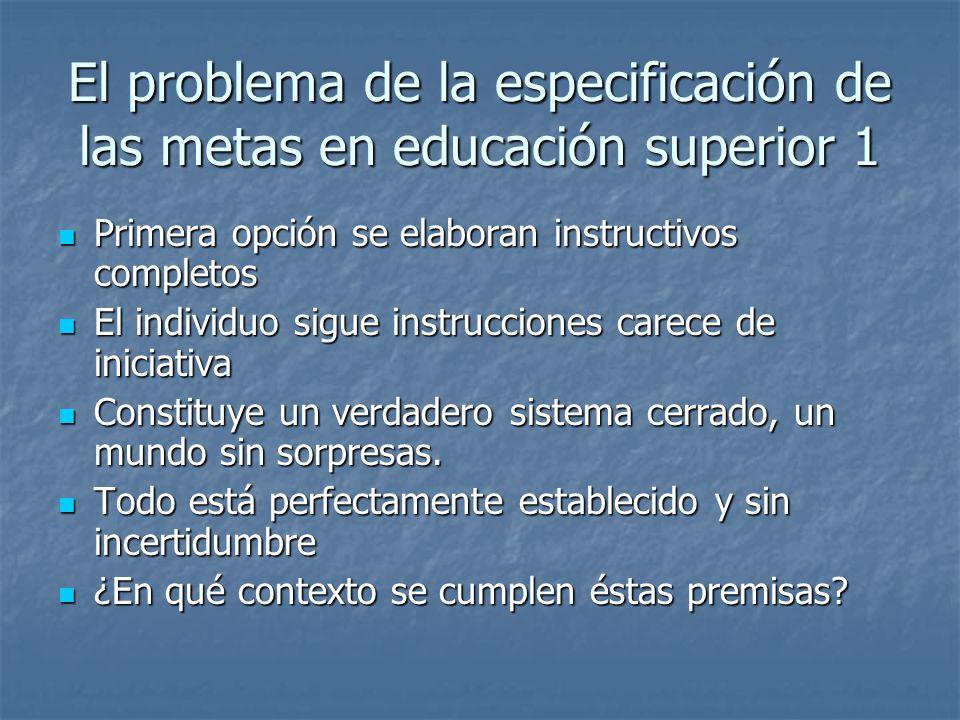 El problema de la especificación de las metas en educación superior 1 Primera opción se elaboran instructivos completos Primera opción se elaboran ins
