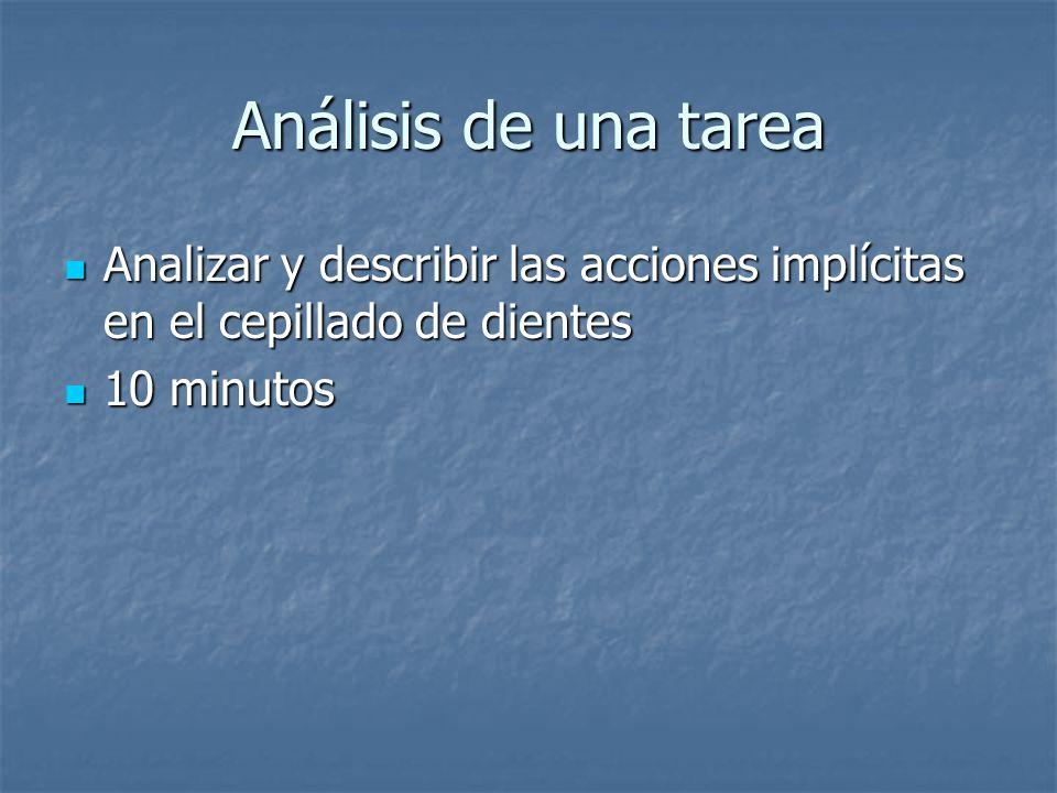 Análisis de una tarea Analizar y describir las acciones implícitas en el cepillado de dientes Analizar y describir las acciones implícitas en el cepil