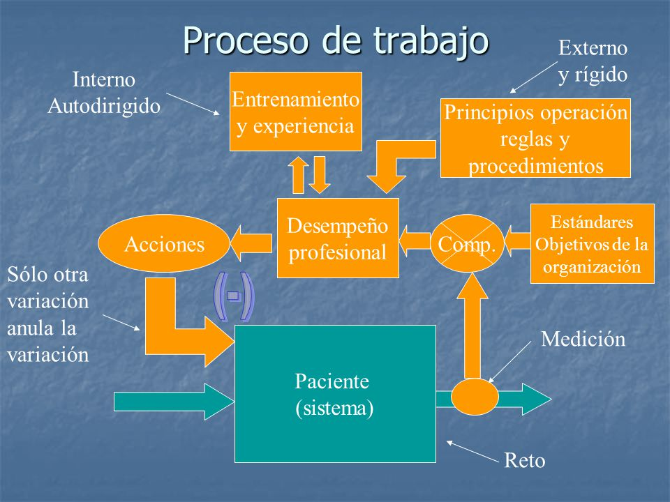 Proceso de trabajo Paciente (sistema) Estándares Objetivos de la organización Desempeño profesional Principios operación reglas y procedimientos Entre