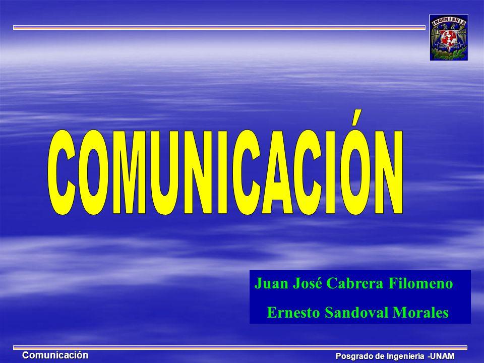 Posgrado de Ingeniería -UNAM Comunicación Juan José Cabrera Filomeno Ernesto Sandoval Morales