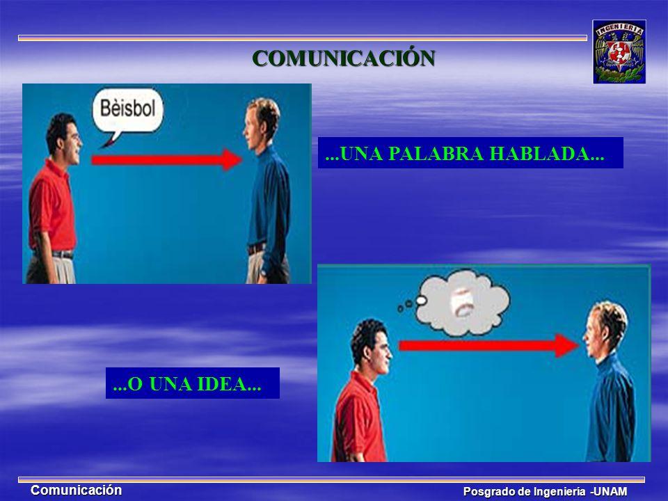 Posgrado de Ingeniería -UNAM Comunicación...O UNA IDEA... COMUNICACIÓN...UNA PALABRA HABLADA...