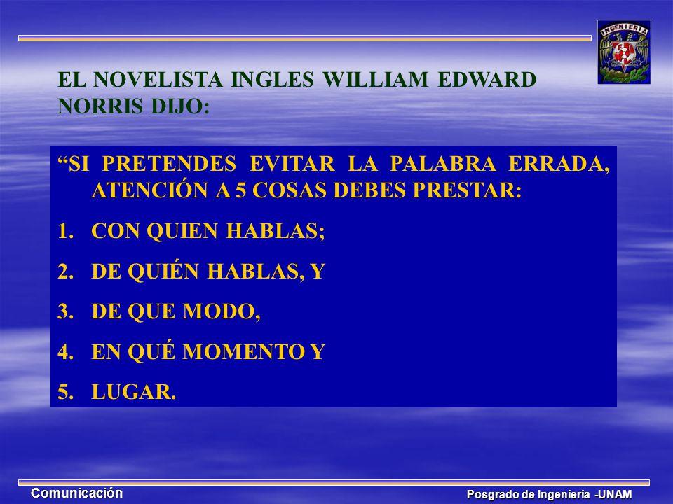 Posgrado de Ingeniería -UNAM Comunicación EL NOVELISTA INGLES WILLIAM EDWARD NORRIS DIJO: SI PRETENDES EVITAR LA PALABRA ERRADA, ATENCIÓN A 5 COSAS DE