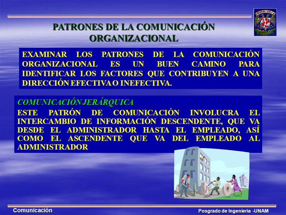 Posgrado de Ingeniería -UNAM Comunicación PATRONES DE LA COMUNICACIÓN ORGANIZACIONAL COMUNICACIÓN JERÁRQUICA ESTE PATRÓN DE COMUNICACIÓN INVOLUCRA EL