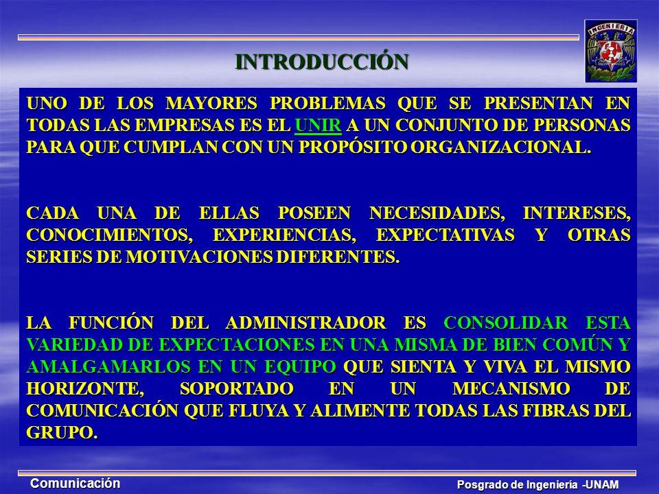 Posgrado de Ingeniería -UNAM Comunicación INTRODUCCIÓN LA COMUNICACIÓN ES UN ELEMENTO CLAVE PARA COMPRENDER A LA SOCIEDAD Y A LAS ORGANIZACIONES.