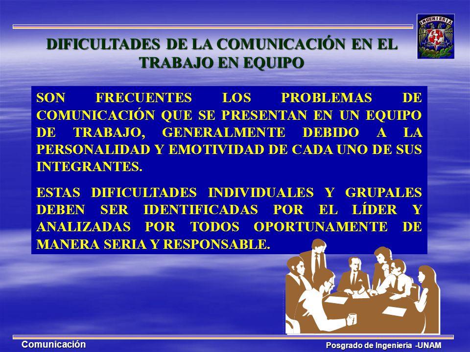 Posgrado de Ingeniería -UNAM Comunicación SON FRECUENTES LOS PROBLEMAS DE COMUNICACIÓN QUE SE PRESENTAN EN UN EQUIPO DE TRABAJO, GENERALMENTE DEBIDO A