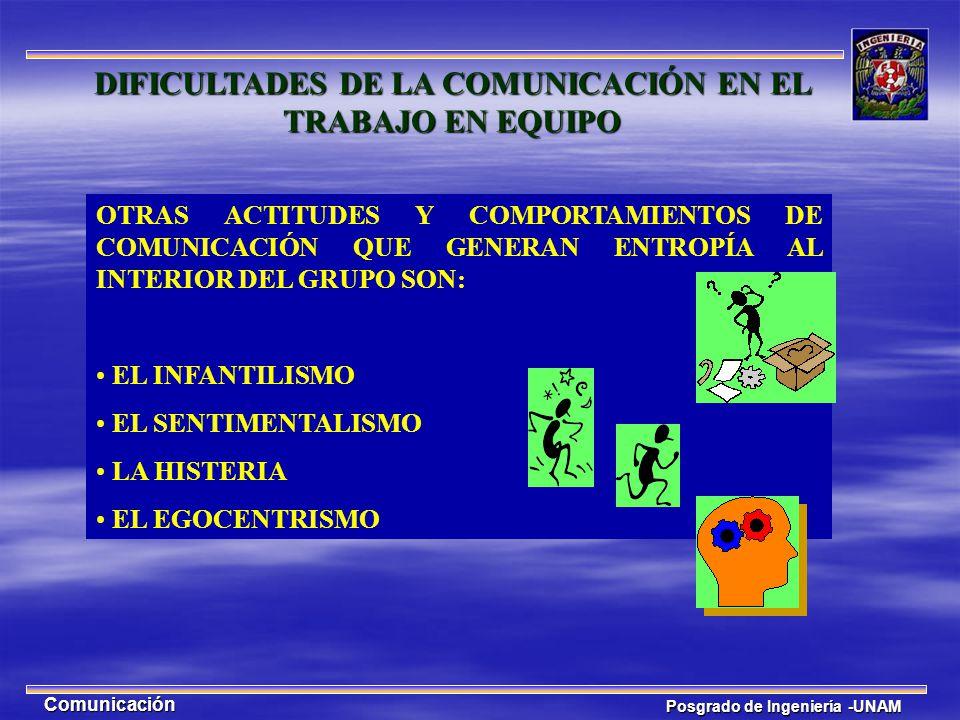 Posgrado de Ingeniería -UNAM Comunicación OTRAS ACTITUDES Y COMPORTAMIENTOS DE COMUNICACIÓN QUE GENERAN ENTROPÍA AL INTERIOR DEL GRUPO SON: EL INFANTI