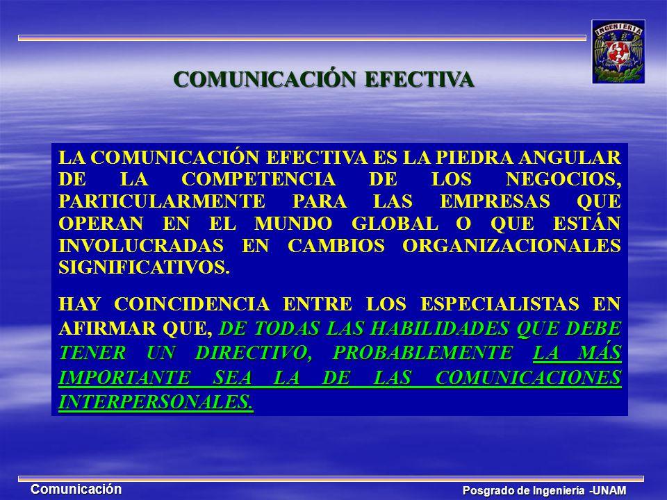 Posgrado de Ingeniería -UNAM Comunicación LA COMUNICACIÓN EFECTIVA ES LA PIEDRA ANGULAR DE LA COMPETENCIA DE LOS NEGOCIOS, PARTICULARMENTE PARA LAS EM
