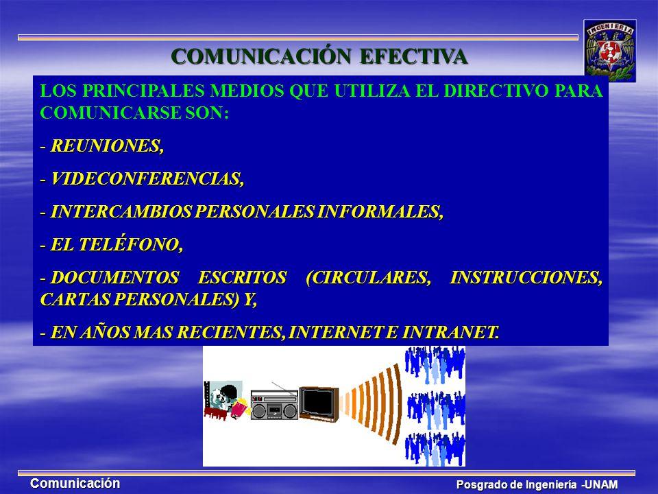 Posgrado de Ingeniería -UNAM Comunicación LOS PRINCIPALES MEDIOS QUE UTILIZA EL DIRECTIVO PARA COMUNICARSE SON: REUNIONES, - REUNIONES, - VIDECONFEREN
