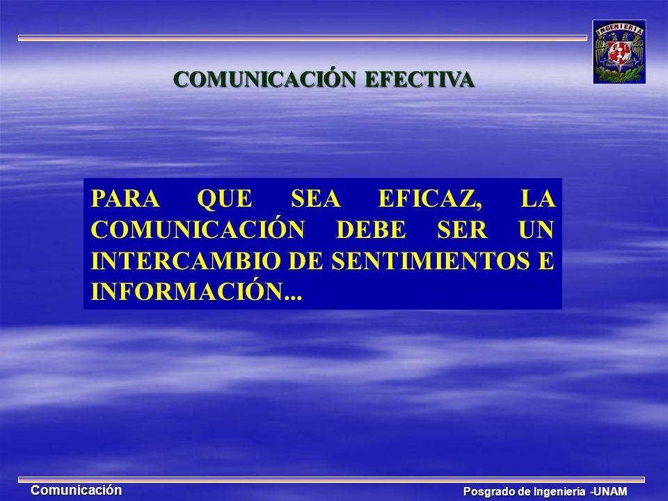 Posgrado de Ingeniería -UNAM Comunicación COMUNICACIÓN EFECTIVA PARA QUE SEA EFICAZ, LA COMUNICACIÓN DEBE SER UN INTERCAMBIO DE SENTIMIENTOS E INFORMA