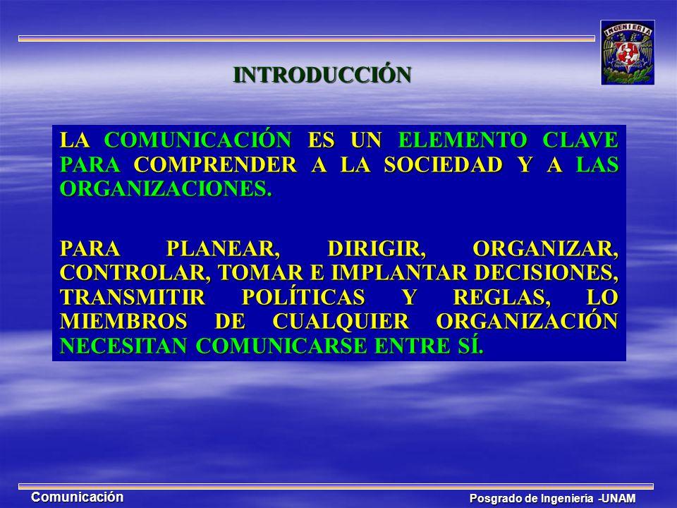 Posgrado de Ingeniería -UNAM Comunicación INTRODUCCIÓN LA COMUNICACIÓN ES UN ELEMENTO CLAVE PARA COMPRENDER A LA SOCIEDAD Y A LAS ORGANIZACIONES. PARA