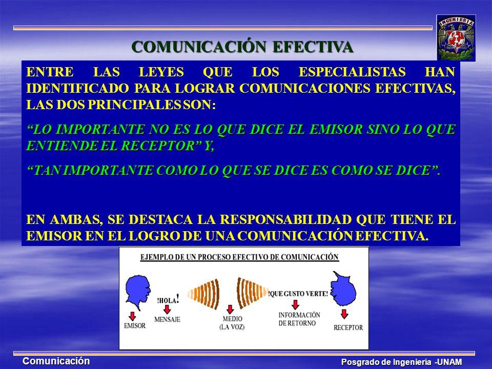 Posgrado de Ingeniería -UNAM Comunicación ENTRE LAS LEYES QUE LOS ESPECIALISTAS HAN IDENTIFICADO PARA LOGRAR COMUNICACIONES EFECTIVAS, LAS DOS PRINCIP
