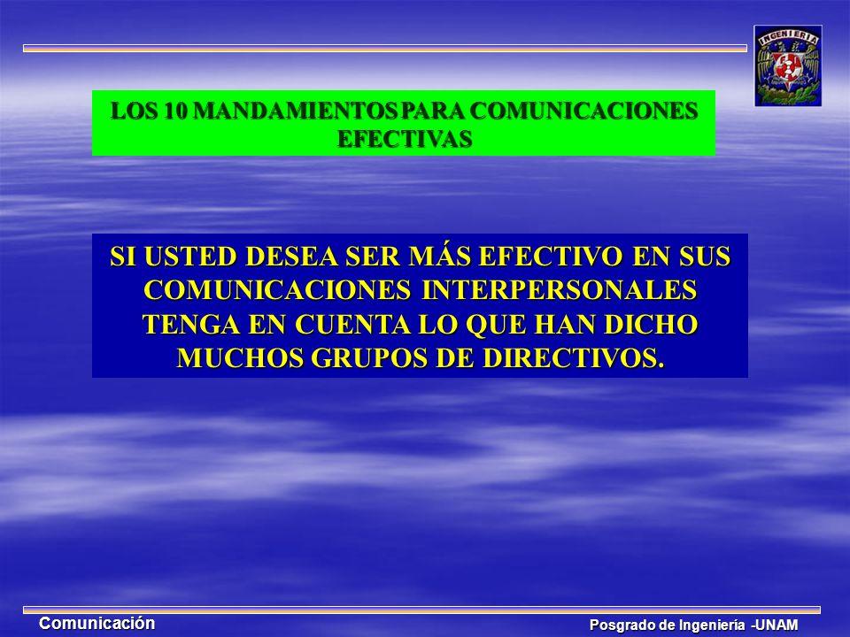Posgrado de Ingeniería -UNAM Comunicación SI USTED DESEA SER MÁS EFECTIVO EN SUS COMUNICACIONES INTERPERSONALES TENGA EN CUENTA LO QUE HAN DICHO MUCHO