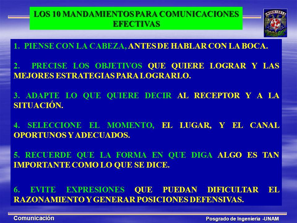 Posgrado de Ingeniería -UNAM Comunicación 1. PIENSE CON LA CABEZA, ANTES DE HABLAR CON LA BOCA. 2. PRECISE LOS OBJETIVOS QUE QUIERE LOGRAR Y LAS MEJOR