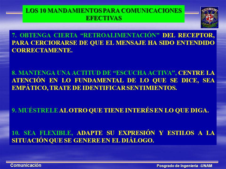 Posgrado de Ingeniería -UNAM Comunicación 7. OBTENGA CIERTA RETROALIMENTACIÓN DEL RECEPTOR, PARA CERCIORARSE DE QUE EL MENSAJE HA SIDO ENTENDIDO CORRE
