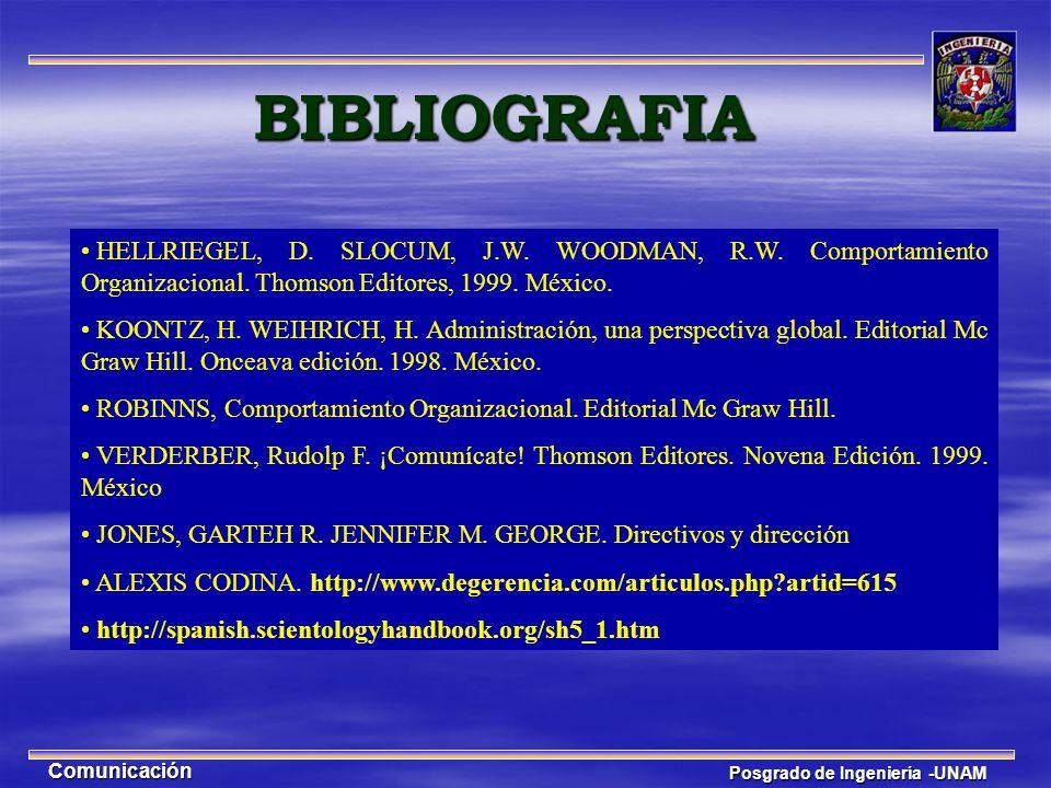 Posgrado de Ingeniería -UNAM Comunicación HELLRIEGEL, D. SLOCUM, J.W. WOODMAN, R.W. Comportamiento Organizacional. Thomson Editores, 1999. México. KOO