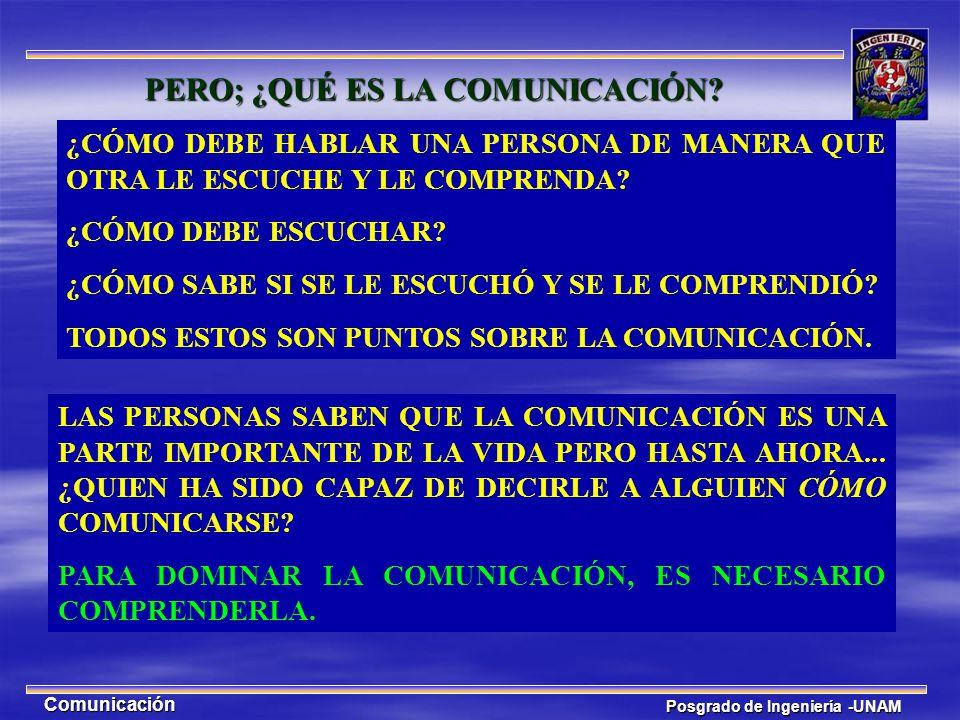 Posgrado de Ingeniería -UNAM Comunicación LA COMUNICACIÓN, EN ESENCIA, ES EL DESPLAZAMIENTO DE UNA PARTÍCULA DE UNA PARTE DEL ESPACIO A OTRA PARTE DEL ESPACIO.