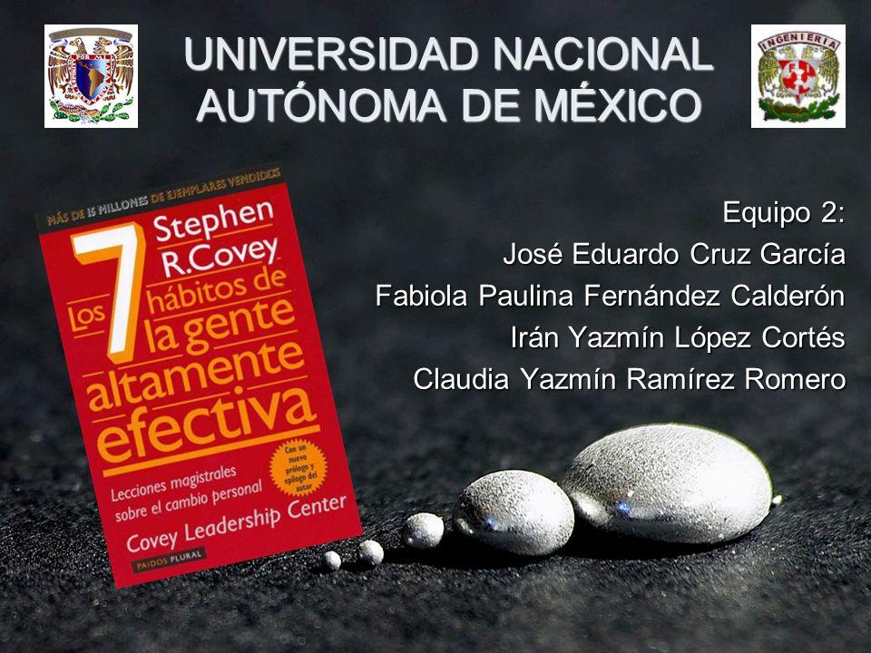 UNIVERSIDAD NACIONAL AUTÓNOMA DE MÉXICO Equipo 2: José Eduardo Cruz García Fabiola Paulina Fernández Calderón Irán Yazmín López Cortés Claudia Yazmín Ramírez Romero