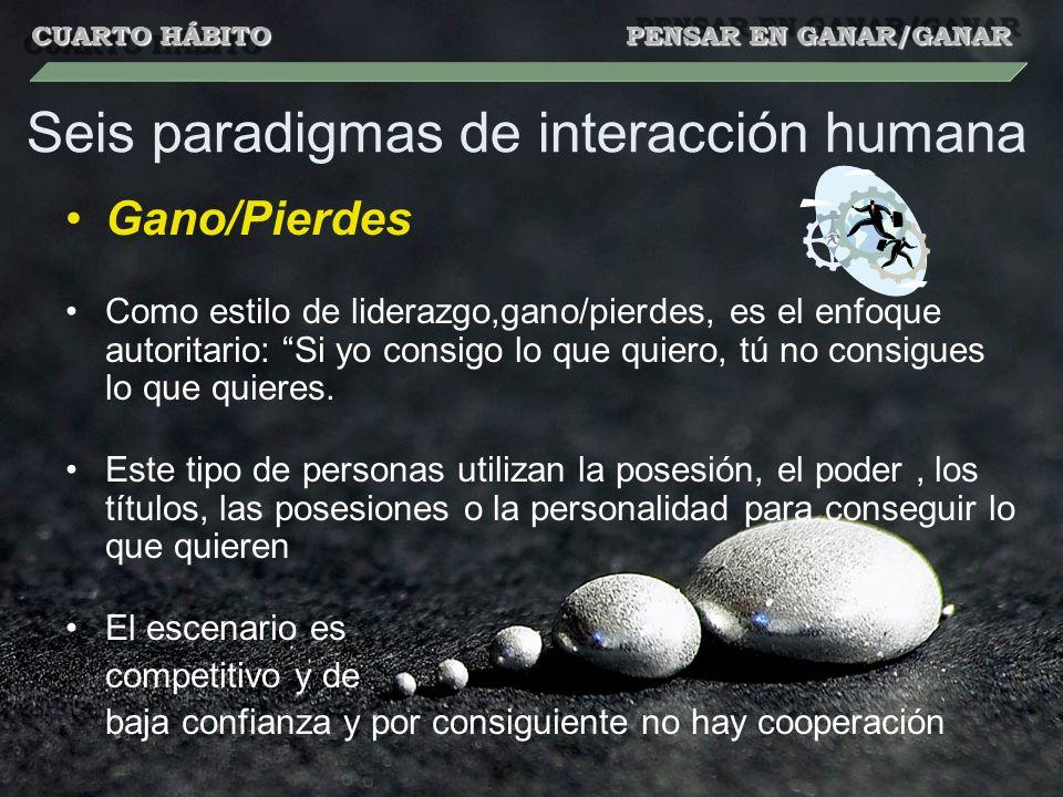 Seis paradigmas de interacción humana Gano/Pierdes Como estilo de liderazgo,gano/pierdes, es el enfoque autoritario: Si yo consigo lo que quiero, tú n