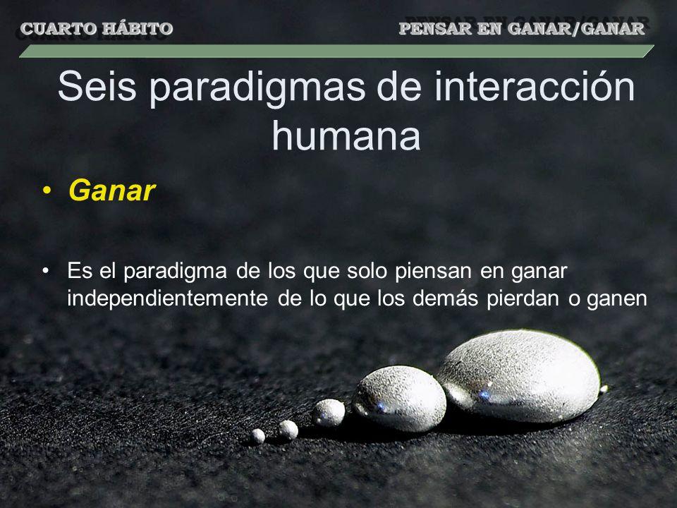 Seis paradigmas de interacción humana Ganar Es el paradigma de los que solo piensan en ganar independientemente de lo que los demás pierdan o ganen CUARTO HÁBITO PENSAR EN GANAR/GANAR