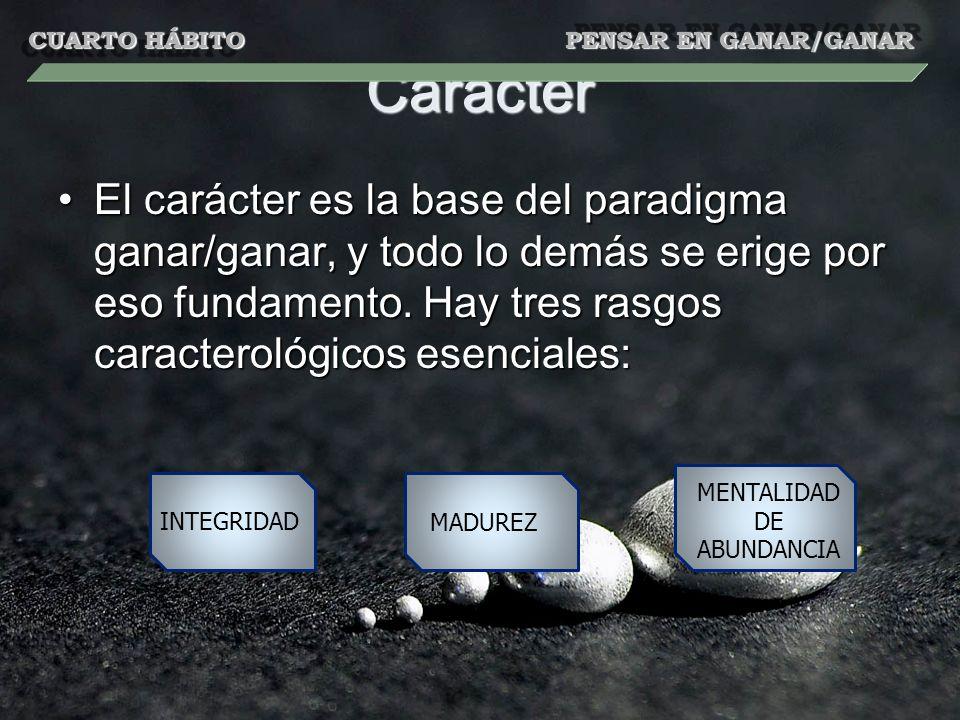 Carácter El carácter es la base del paradigma ganar/ganar, y todo lo demás se erige por eso fundamento. Hay tres rasgos caracterológicos esenciales:El