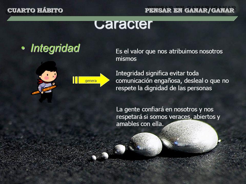 Carácter IntegridadIntegridad genera La gente confiará en nosotros y nos respetará si somos veraces, abiertos y amables con ella.