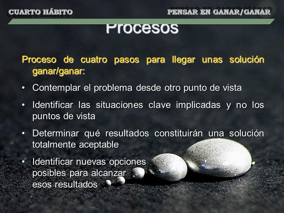 Procesos Proceso de cuatro pasos para llegar unas solución ganar/ganar: Contemplar el problema desde otro punto de vistaContemplar el problema desde o