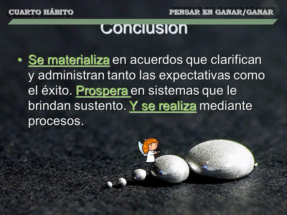Conclusión Se materializa en acuerdos que clarifican y administran tanto las expectativas como el éxito. Prospera en sistemas que le brindan sustento.