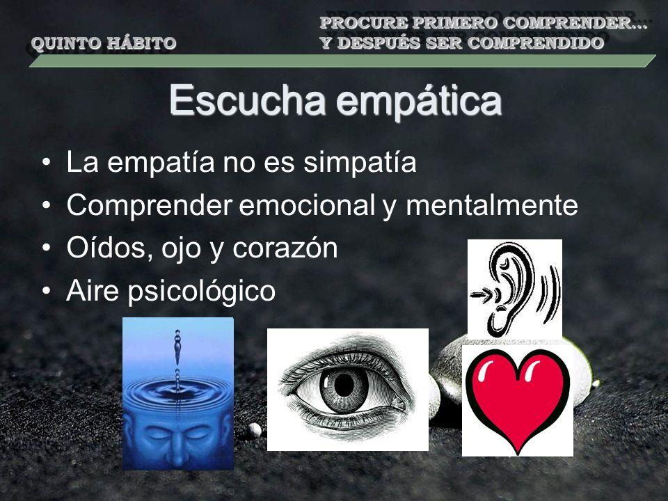 Escucha empática La empatía no es simpatía Comprender emocional y mentalmente Oídos, ojo y corazón Aire psicológico QUINTO HÁBITO PROCURE PRIMERO COMPRENDER… Y DESPUÉS SER COMPRENDIDO