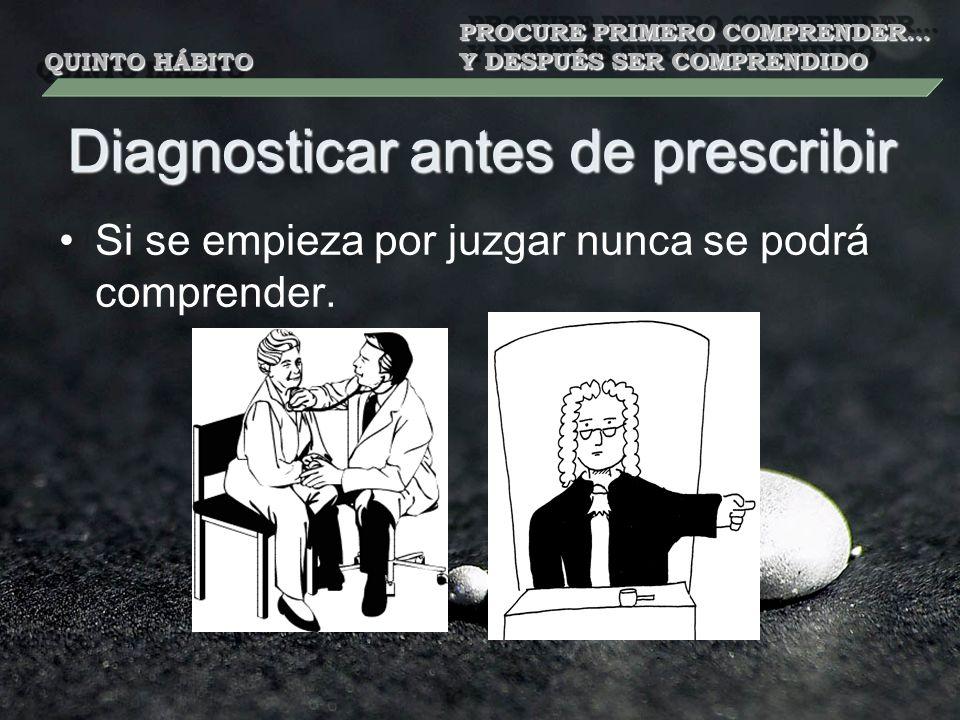 Diagnosticar antes de prescribir Si se empieza por juzgar nunca se podrá comprender. QUINTO HÁBITO PROCURE PRIMERO COMPRENDER… Y DESPUÉS SER COMPRENDI