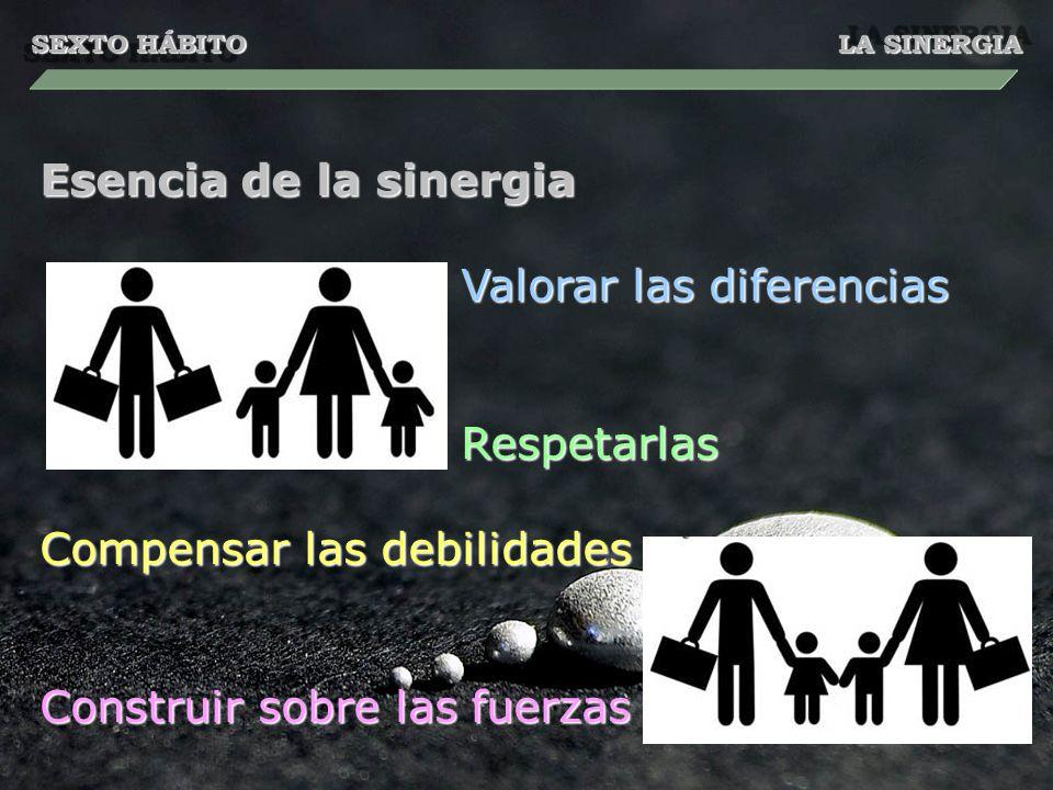 SEXTO HÁBITO LA SINERGIA Esencia de la sinergia Valorar las diferencias Respetarlas Compensar las debilidades Construir sobre las fuerzas