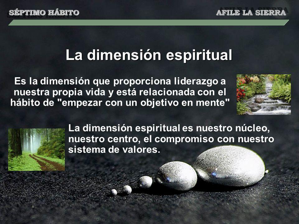 La dimensión espiritual Es la dimensión que proporciona liderazgo a nuestra propia vida y está relacionada con el hábito de empezar con un objetivo en mente La dimensión espiritual es nuestro núcleo, nuestro centro, el compromiso con nuestro sistema de valores.