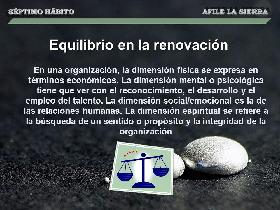 Equilibrio en la renovación En una organización, la dimensión física se expresa en términos económicos. La dimensión mental o psicológica tiene que ve
