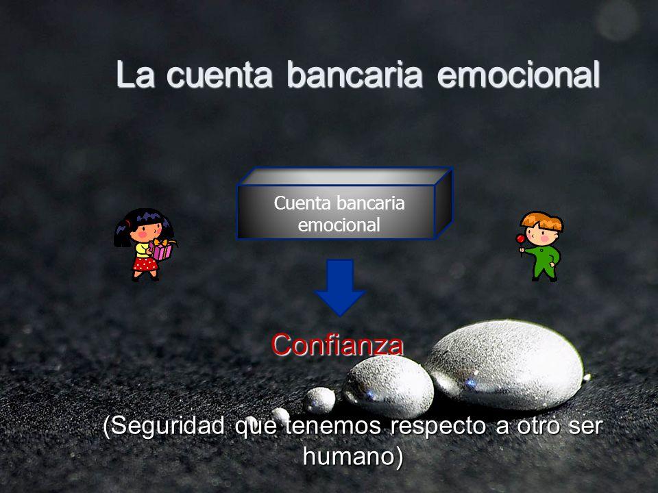 La cuenta bancaria emocional Confianza Confianza (Seguridad que tenemos respecto a otro ser humano) Cuenta bancaria emocional