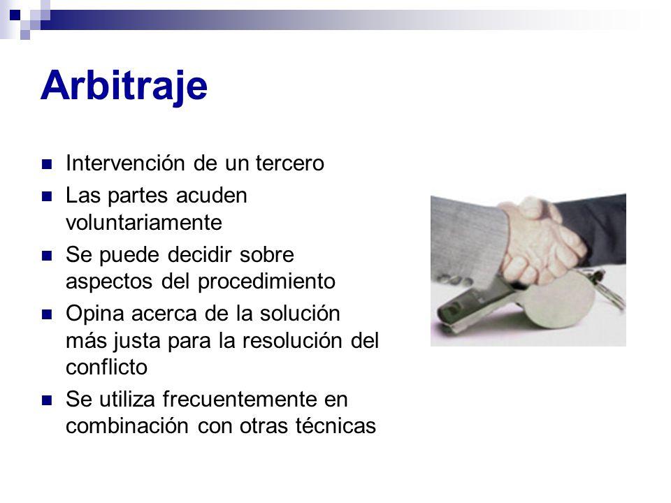 Arbitraje Intervención de un tercero Las partes acuden voluntariamente Se puede decidir sobre aspectos del procedimiento Opina acerca de la solución m