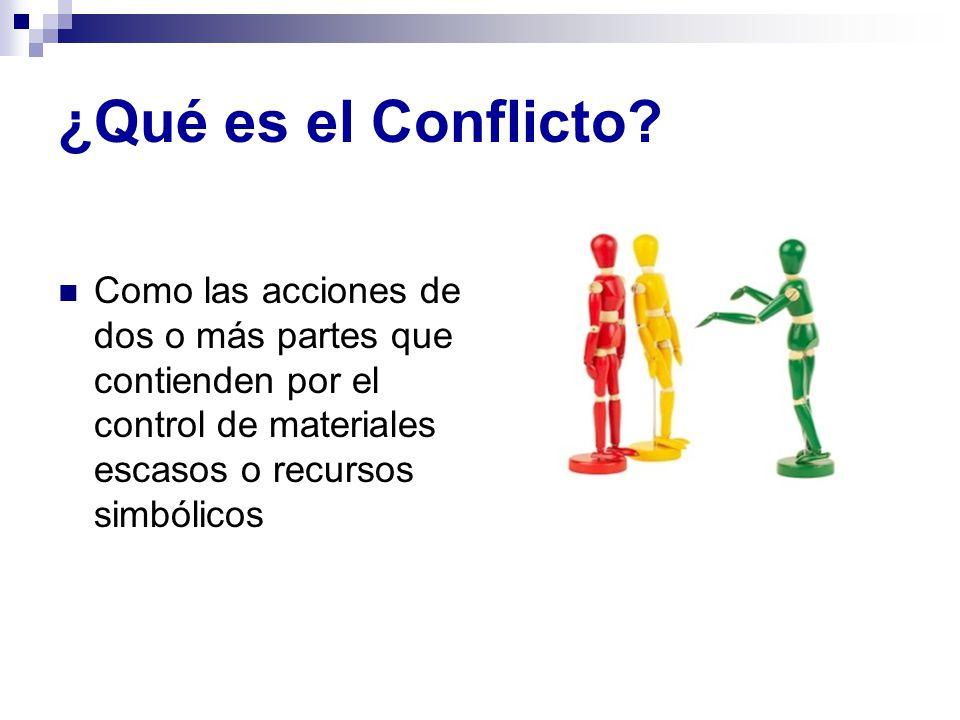 ¿Qué es el Conflicto? Como las acciones de dos o más partes que contienden por el control de materiales escasos o recursos simbólicos