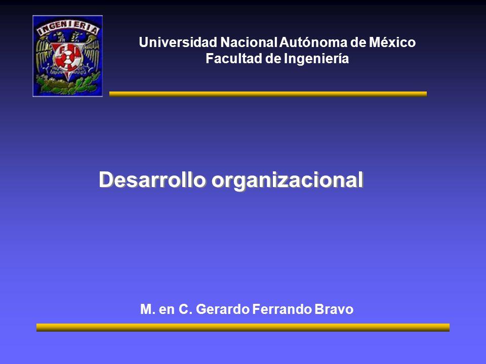 Universidad Nacional Autónoma de México Facultad de Ingeniería Desarrollo organizacional M.
