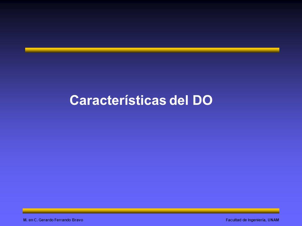 Facultad de Ingeniería, UNAMM. en C. Gerardo Ferrando Bravo Características del DO