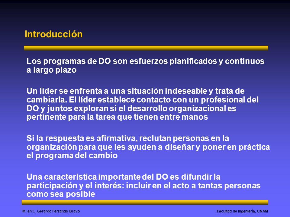 Facultad de Ingeniería, UNAMM. en C. Gerardo Ferrando Bravo Objetivos del DO