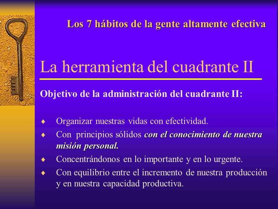 Los 7 hábitos de la gente altamente efectiva Los 7 hábitos de la gente altamente efectiva La herramienta del cuadrante II Objetivo de la administració