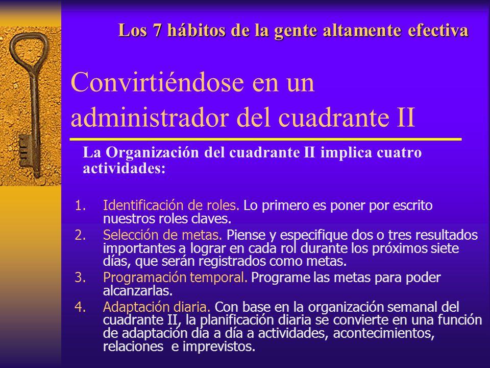Los 7 hábitos de la gente altamente efectiva Los 7 hábitos de la gente altamente efectiva Convirtiéndose en un administrador del cuadrante II La Organ