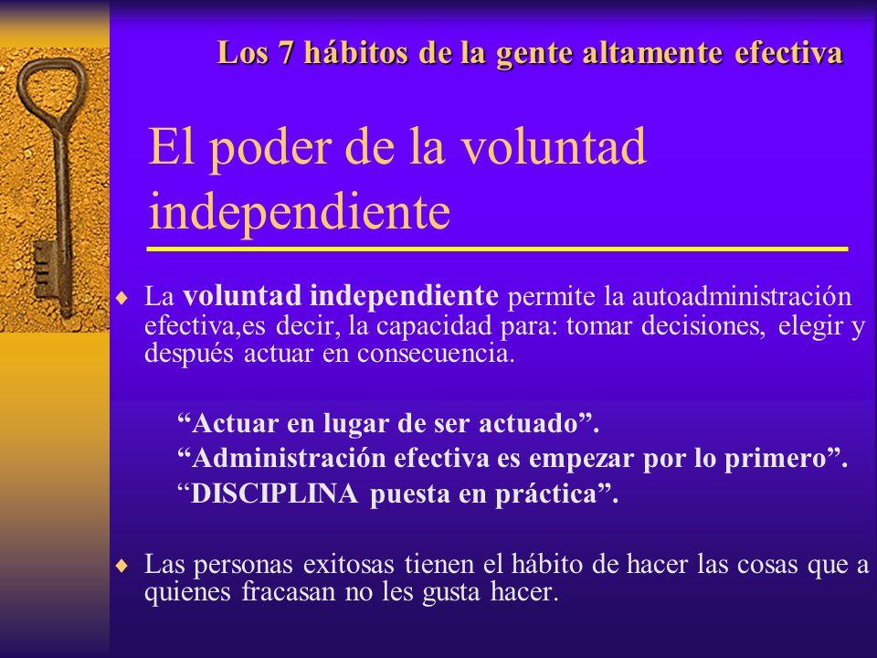 Los 7 hábitos de la gente altamente efectiva Los 7 hábitos de la gente altamente efectiva El poder de la voluntad independiente La voluntad independie