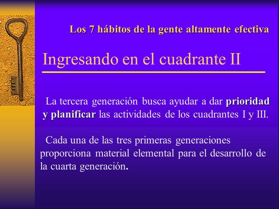 Los 7 hábitos de la gente altamente efectiva Los 7 hábitos de la gente altamente efectiva La herramienta del cuadrante II La cuarta generación busca la admon.