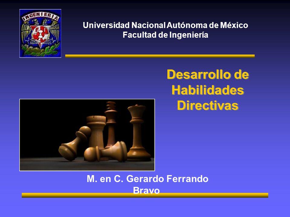 Universidad Nacional Autónoma de México Facultad de Ingeniería M. en C. Gerardo Ferrando Bravo Desarrollo de Habilidades Directivas