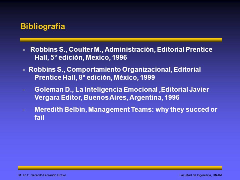 Facultad de Ingeniería, UNAMM. en C. Gerardo Ferrando Bravo Bibliografía - Robbins S., Coulter M., Administración, Editorial Prentice Hall, 5° edición