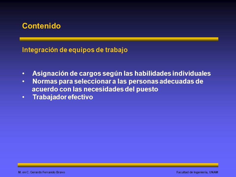 Facultad de Ingeniería, UNAMM. en C. Gerardo Ferrando Bravo Contenido Integración de equipos de trabajo Asignación de cargos según las habilidades ind