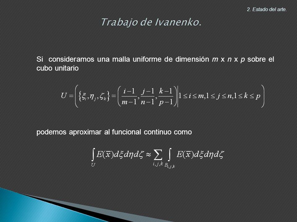 Si consideramos una malla uniforme de dimensión m x n x p sobre el cubo unitario podemos aproximar al funcional continuo como 2.