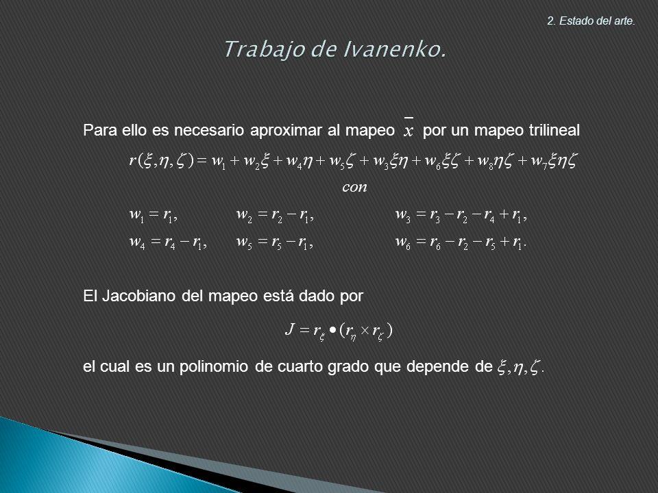 Para ello es necesario aproximar al mapeo por un mapeo trilineal El Jacobiano del mapeo está dado por el cual es un polinomio de cuarto grado que depende de 2.