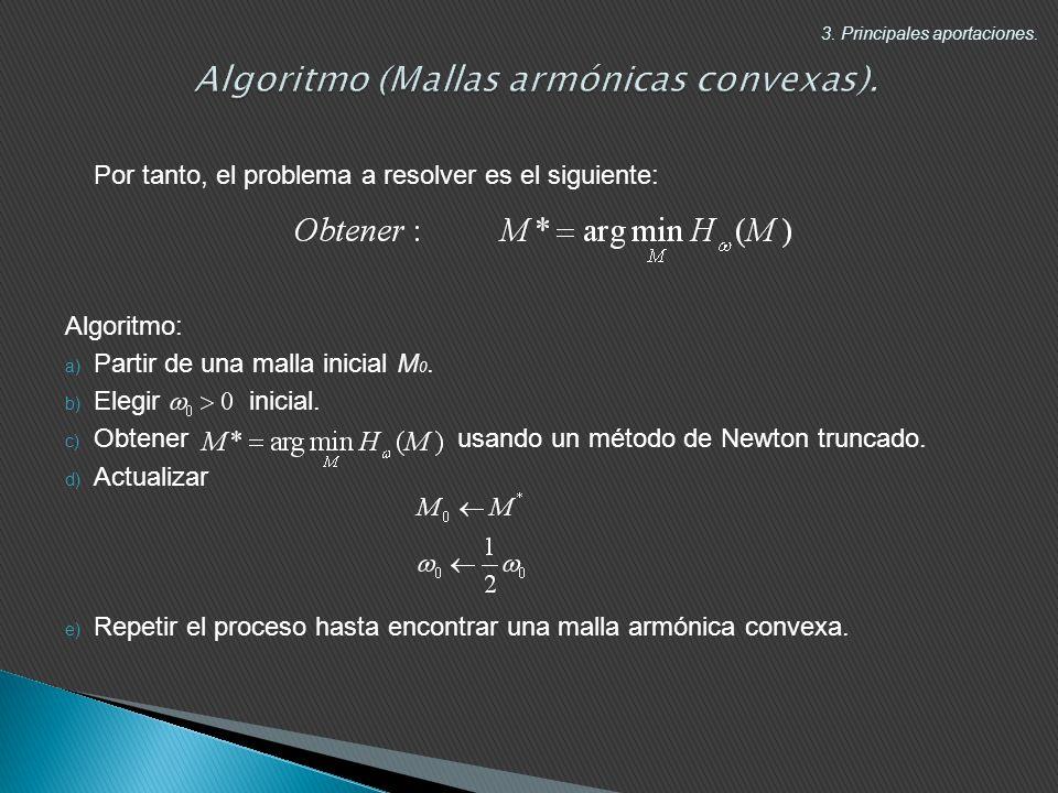 Por tanto, el problema a resolver es el siguiente: Algoritmo: a) Partir de una malla inicial M 0.