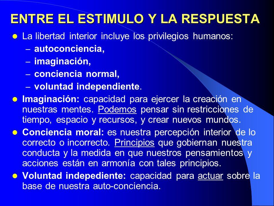 MODELO PROACTIVO Libertad interior de acción Estímulo Respuesta Autoconciencia Imaginación Voluntad Independiente Conciencia moral